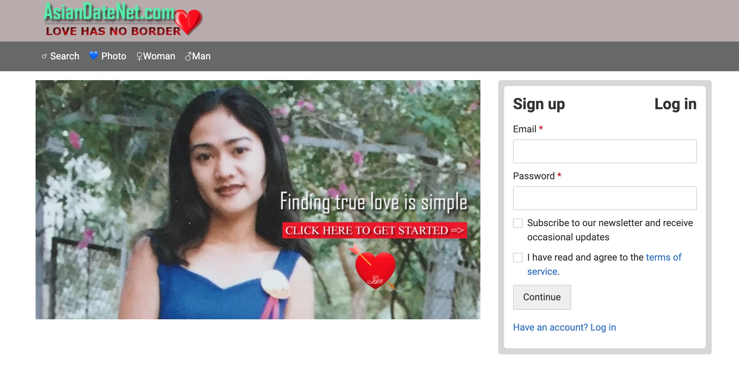 Asian Date Net main page